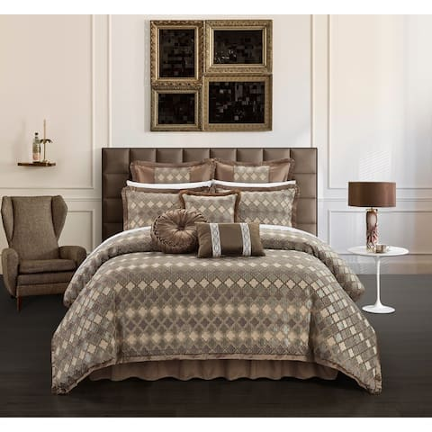 Chic Home Suelyn 13 Piece Chenille Design Comforter Set, Brown