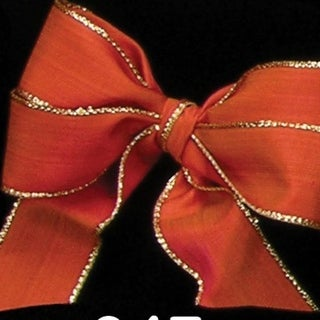Copper Taffeta with Gold Edge Wired Craft Ribbon 9.5mm x 108 Yards