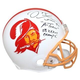 Mike Alstott Tampa Bay Buccaneers Authentic TB Helmet 2 Insc BAS