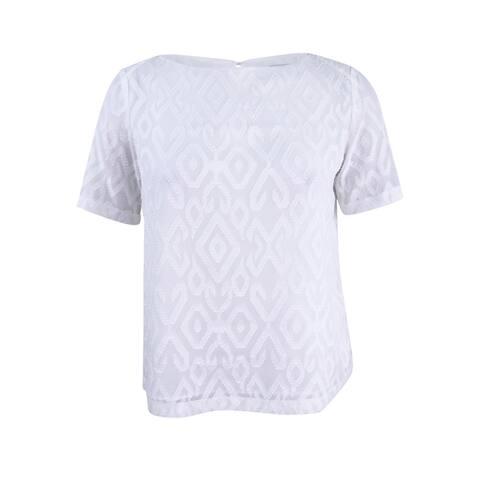 Kasper Women's Plus Size Textured Blouse - White