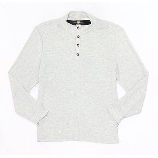 Club Room NEW Gray Mens Size Large L Waffle Knit Button-Henley Sweater