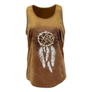 Cowgirl Tuff Western Shirt Womens Dreamcatcher Tank Top Tan 100082