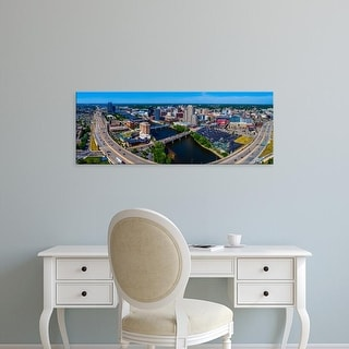 Easy Art Prints Panoramic Images's 'View of cityscape, Grand River, Grand Rapids, Kent County, Michigan' Canvas Art