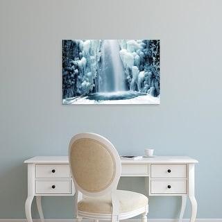 Easy Art Prints Michel Hersen's 'Multnomah Falls In Winter: Columbia Gorge' Premium Canvas Art