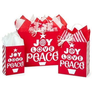 Pack of 125, Peppermint Holiday Bag Assortment For Christmas Packaging, 100% Recyclable, Made In Usa