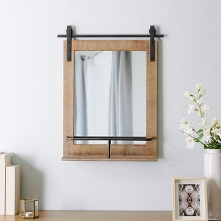 Link to FirsTime & Co.® Ingram Farmhouse Barn Door Mirror With Shelf, American Crafted, Rustic Wood, Metal, 20 x 5 x 25 in Similar Items in Mirrors