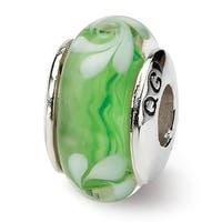Sterling Silver Reflections Green/White Hand-blown Glass Bead (4mm Diameter Hole)
