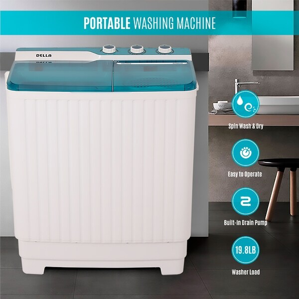 Della 9kg Mini Compact Twin Tub Portable Washer Spin Dryer Cycle Built In Pump Washing