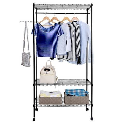 3-Tier Closet Organizer Garment Rack Portable Clothes Hanger Shelf