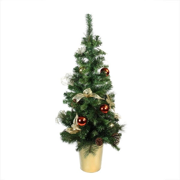 """48"""" Pre-Decorated Red, Gold and Copper Potted Artificial Christmas Tree - Unlit"""