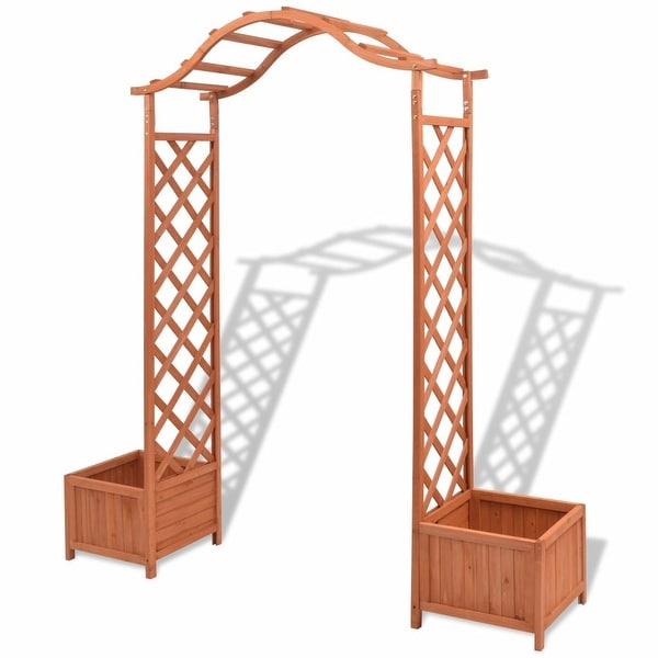 vidaXL Solid Wood Garden Arch Pergola Trellis Plants Support Outdoor Archway