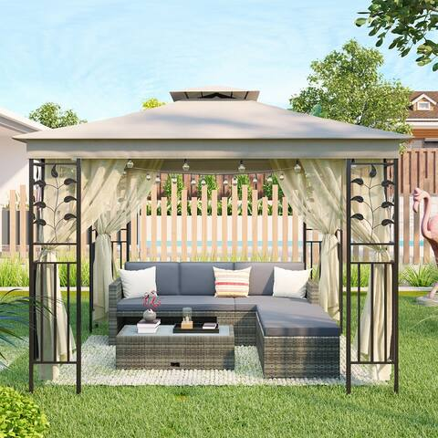 Merax Outdoor Gazebo Double Roof Vented Gazebo Canopy (10Ft. Wx8Ft. H)