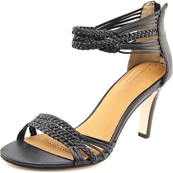 Corso Como Zimroa Women Open Toe Leather Black Sandals