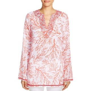 MICHAEL Michael Kors Womens Solana Tunic Top Printed Embroidered