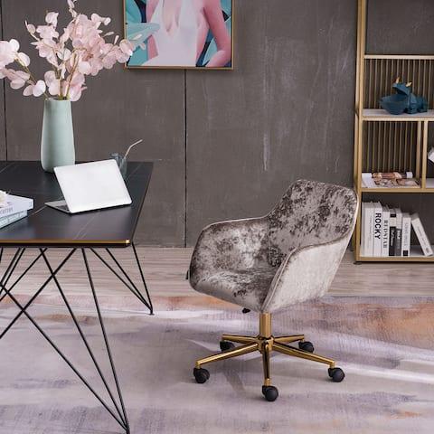 Grey Crush Velvet Home Office Chair