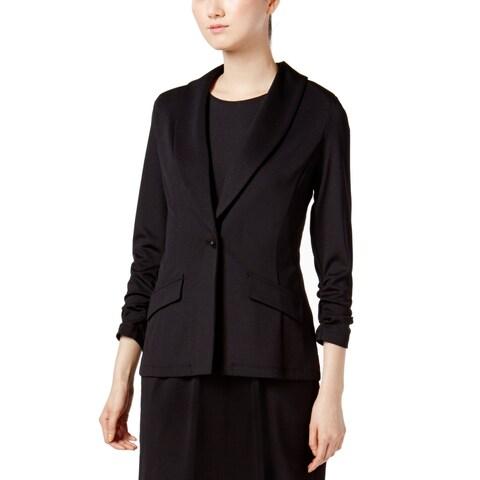 Kasper Black Women Size Medium M Shawl-Collar Ruched Sleeve Jacket