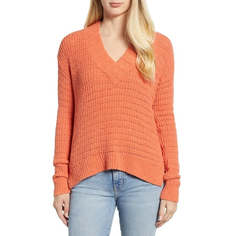 Caslon Womens Sweater Orange Size Large L V-Neck Knitted Ribbed Trim