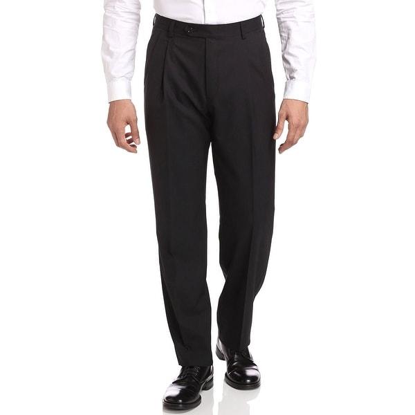 Berle Milan Super 100s Wool Gabardine Pleated Front Dress Pants Black 29