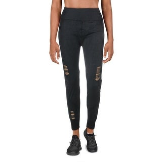 Link to Splendid Women's Seamless Destroyed Activewear Fitness Leggings - Black - L Similar Items in Athletic Clothing