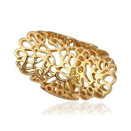 Gold Plated Laser Cut Large Abstract Ring