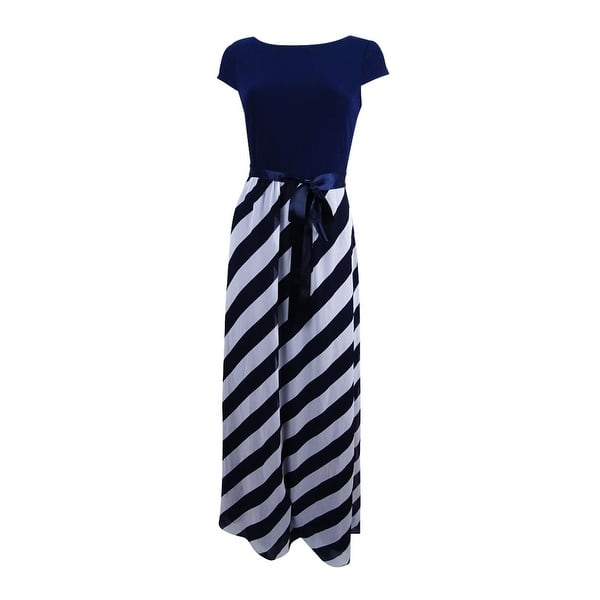0d5680b79b815 SL Fashions Women's Diagonal Stripe Maxi Dress - Navy/Ivory