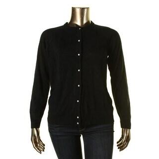 Karen Scott Womens Button Front Long Sleeves Cardigan Sweater