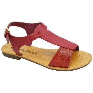 Adult Red Faux Python Detail T-Bar Ankle Strap Xara-1 Sandals