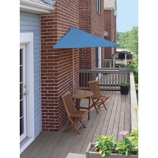 5 Piece Oval Basic Nyatoh Wood and Blue Olefin Patio Furniture Set 7.5'