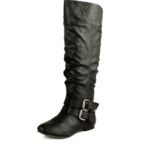 Nature Breeze Womens Vickie-20 Flat Faux Leather Slouch Knee High Boots