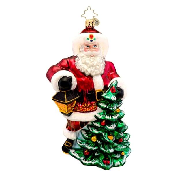 Christopher Radko Glass Lighting the Season Santa Christmas Ornament #1017103 - RED