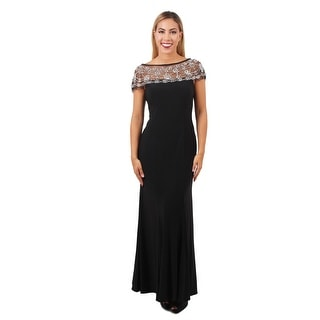 Beaded Neckline Jersey Gown
