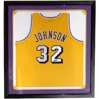 Magic Johnson Signed Framed Custom Yellow Basketball Jersey JSA