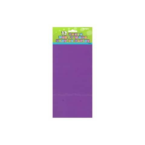 """Unique Paper Party Bag 10x5"""" Deep Purple 12pc"""