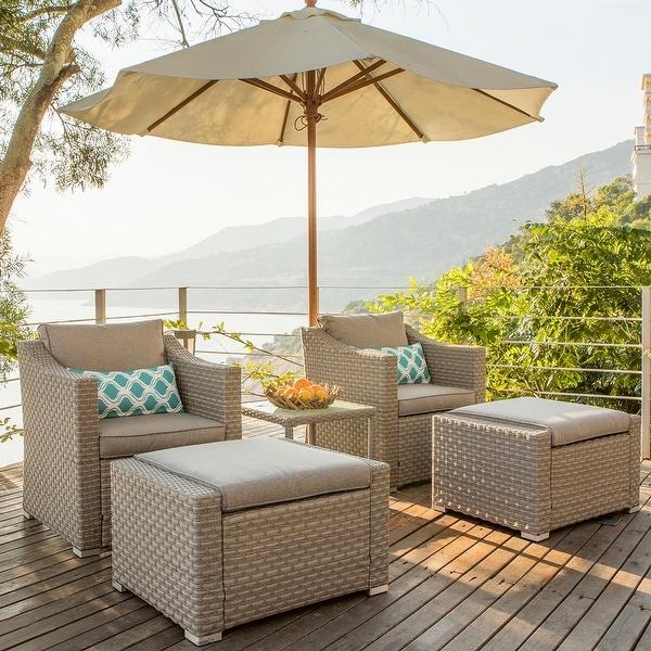 COSIEST Wicker 5-piece Outdoor Lounge Set w/ Cushions. Opens flyout.