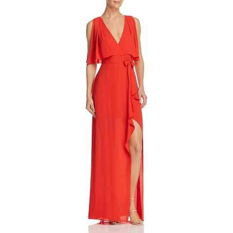 BCBG Max Azria Womens Fenella Evening Dress Faux-Wrap Sleeveless
