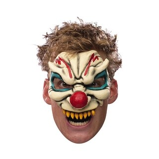 Disguise Evil Clown Adult Vinyl Chinless Mask - White