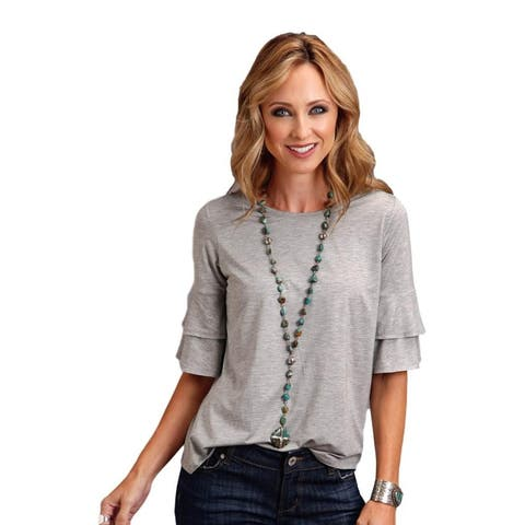 Stetson Western Shirt Womens S/S Tee Ruffles Gray