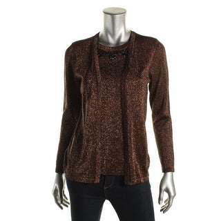 NY Collection Womens Metallic Embellished Pullover Sweater