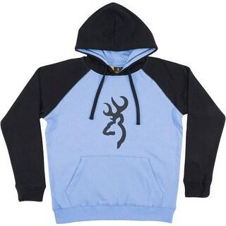 Browning 320099l bg women's hoodie cornflower/ black large w/buck mark logo<