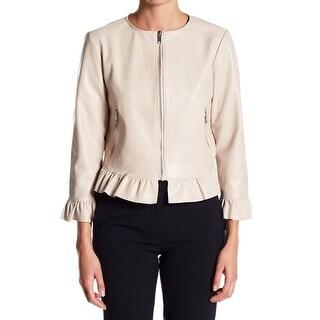 Catherine Malandrino NEW Beige Women's Size 6 Peplum Ruffle Trim Jacket