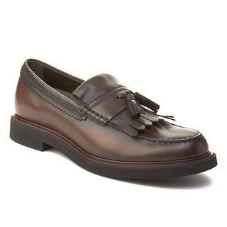 Tod's Men's Leather Tassle Loafer Shoes Brown