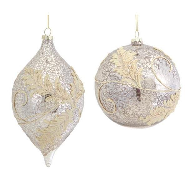 "6 Elegant Silver & Gold Embellished Glass Ball & Shuttle Christmas Ornaments 4"""
