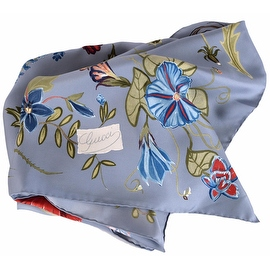New Gucci Women's 371443 Blue Flora Knight Silk Twill Square Neck Scarf