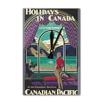 Canadian Pacific - Holiday (Shoesmith) Vintage Ad (Acrylic Wall Clock) - acrylic wall clock