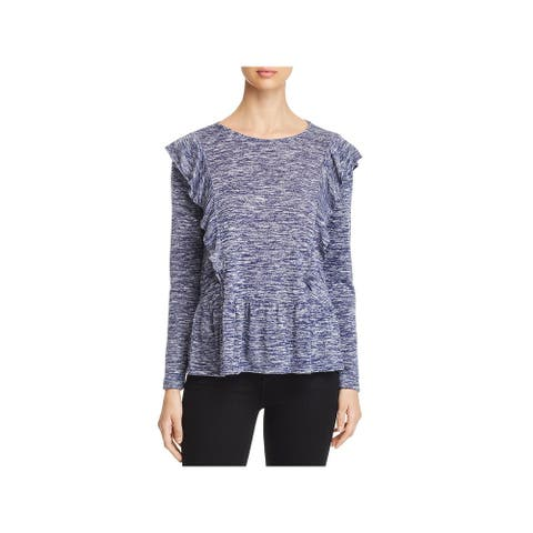 Design History Womens Knit Top Marled Ruffled - Blackberry Combo