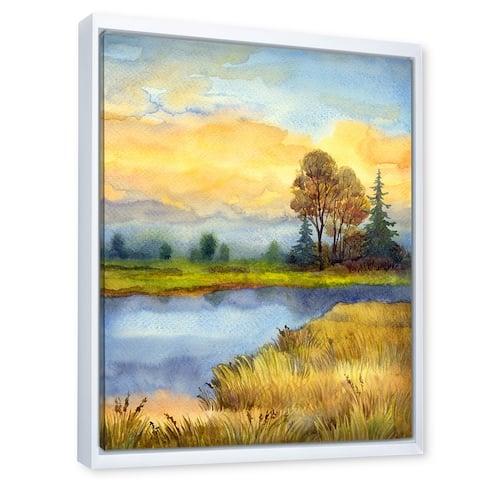 Designart 'The Awakening of Nature' Lake House Framed Canvas Wall Art Print