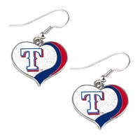 Texas Rangers MLB Glitter Heart Earring Swirl Charm Set