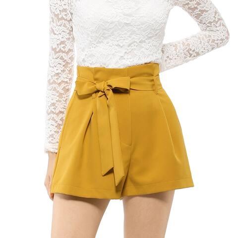 Women's Elegant Tie Waist Shorts High Waist Paper Bag Shorts
