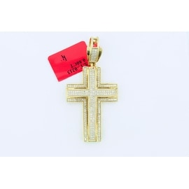 2/3cttw Diamond Cross Sterling Silver Yellow Gold-Tone 1.5 inch Tall( 0.66cttw)