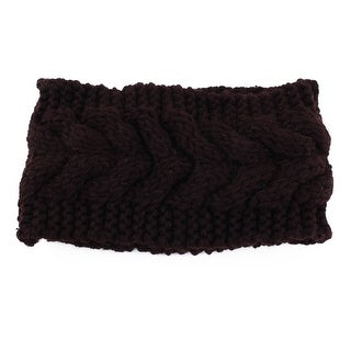 Nylon Twist knitted Head Wrap Hair Band Sports Ski Headband Coffee Color